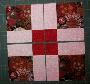 Nine patch cut in half both directions
