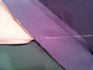 Chalked sewing line.